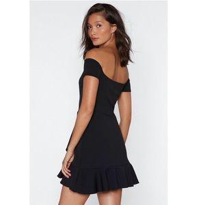 Nasty Gal Dresses - NWT Off the shoulder ruffled trim dress